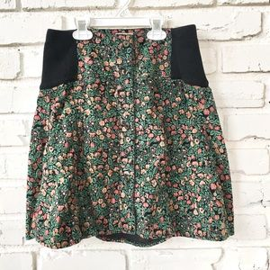 Free People Floral Corduroy Skirt